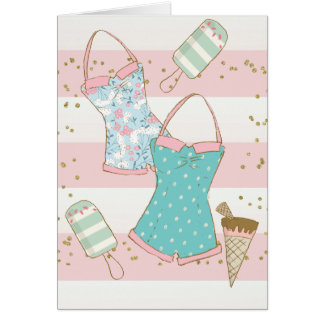 Pink Stripe Summer Swim Card