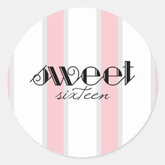 Pink Stripe Sweet 16 Stickers