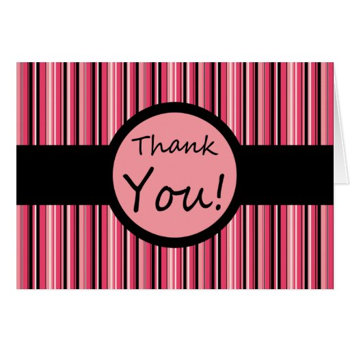 Pink Stripe Thank You Greeting Cards