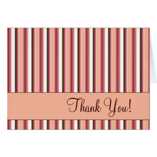 Pink Stripe Thank You Greeting Card