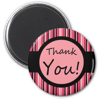Pink Stripe Thank You Refrigerator Magnets