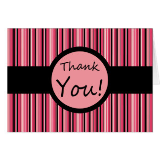 Pink Stripe Thank You Note Card