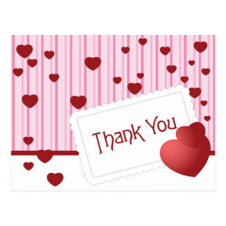 Pink Stripe Thank You Red Heart Post Card