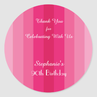 Pink Stripe Thank You Sticker, Personalized Classic Round Sticker