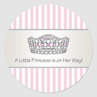 Pink Stripe Tiara Princess Envelope Seal Label Round Sticker