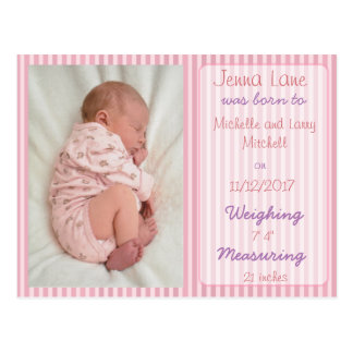 Pink Striped Baby Girl Birth Announcement Postcard