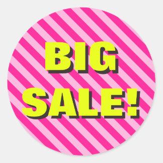 """Pink Striped """"BIG SALE!"""" Round Sticker"""