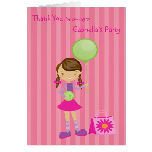 Pink, Striped, Bowling Girl Thank You Greeting Card