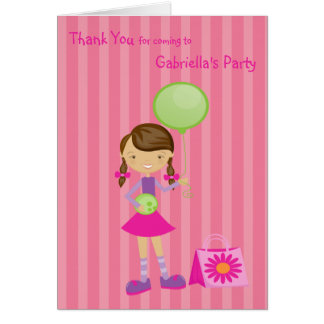 Pink, Striped, Bowling Girl Thank You Note Card