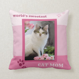 Pink Striped Cat Mom Photo Pillow