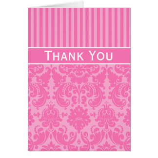 Pink Striped Damask Thank You Note Card
