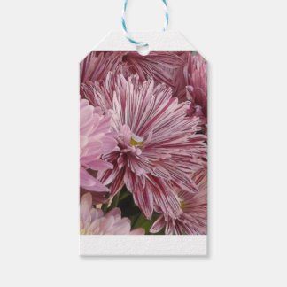 Pink striped flower gift tags