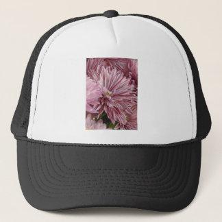 Pink striped flower trucker hat