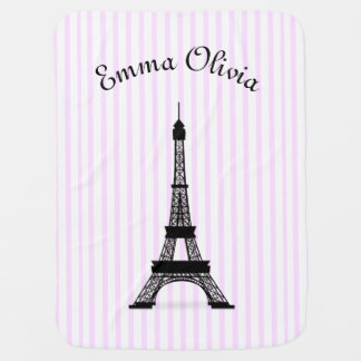 Pink Striped French Theme Eiffel Tower Personalize Baby Blanket