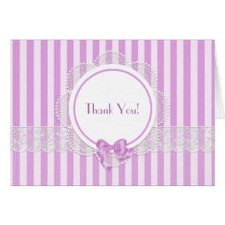 Pink Striped Lace Thank You Note Card