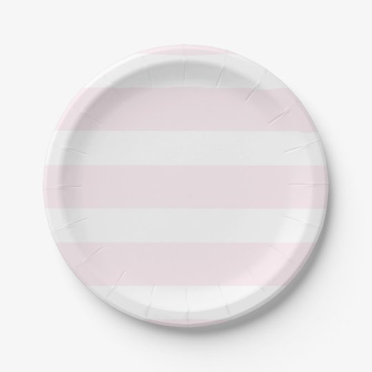 Pink Striped Party Plates 7 Inch Paper Plate