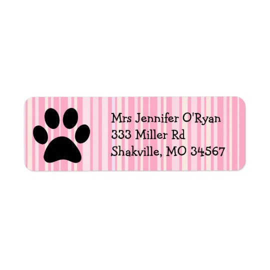 Pink Striped Paw Print Return Address Label