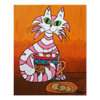 Pink Striped Tabby Cat with Cookies & Hot Cocoa Poster
