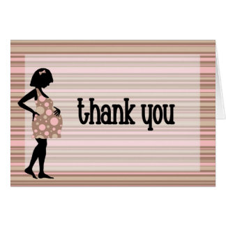 Pink Striped Thank You Card for baby