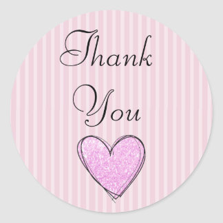 """Pink Striped """"Thank You"""" Stickers"""