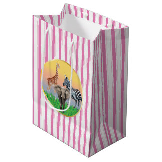Pink Striped Zoo Animal Bag