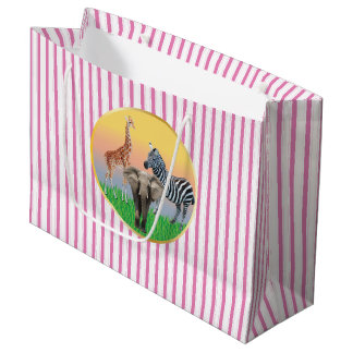 Pink Striped Zoo Animal Large Bag