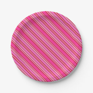 Pink Stripes 7 Inch Paper Plate