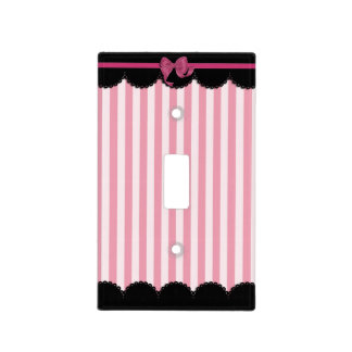 Pink Stripes and Black Lace Light Switch Cover