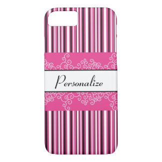 Pink Stripes and Curls iPhone 8/7 Case