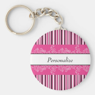 Pink Stripes and Curls Keychain