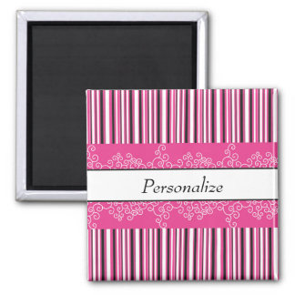 Pink Stripes and Curls Magnet