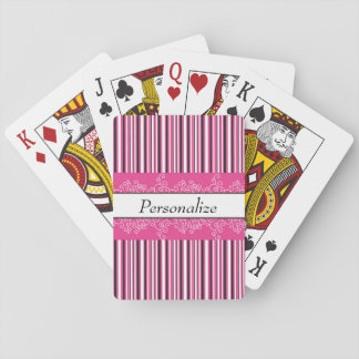 Pink Stripes and Curls Playing Cards