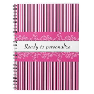 Pink Stripes and Curls Spiral Notebook