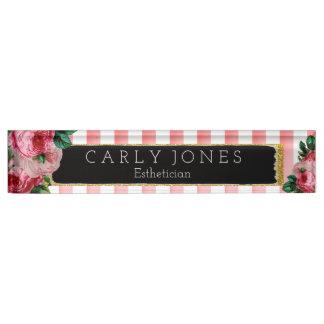 Pink Stripes and Floral Desk Nameplate