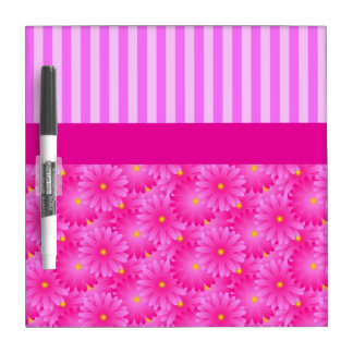 Pink Stripes and Flowers Dry Erase Board