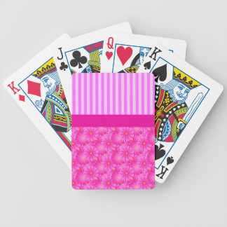 Pink Stripes and Flowers Playing Cards