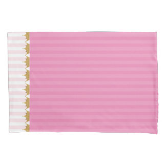 Pink Stripes and Gold Crowns Pillow Case