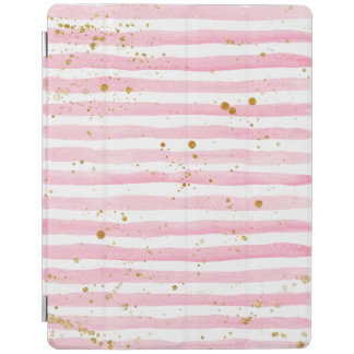 Pink stripes and Gold splatters ipad cover