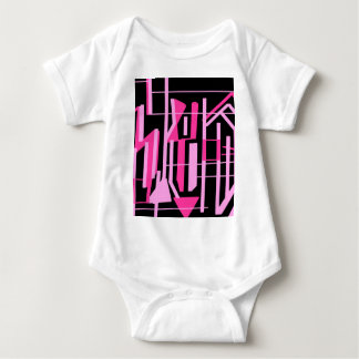 Pink stripes and lines design baby bodysuit