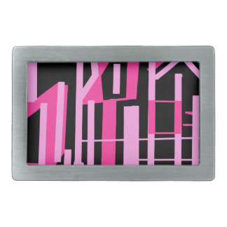 Pink stripes and lines design belt buckle