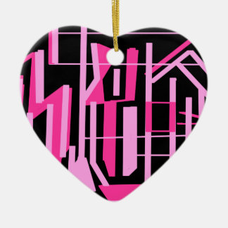 Pink stripes and lines design ceramic ornament