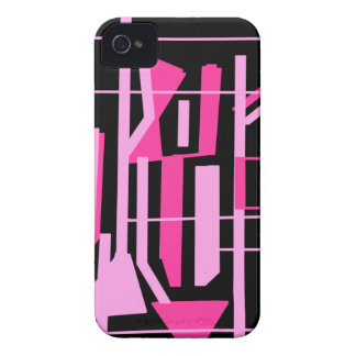 Pink stripes and lines design iPhone 4 cases