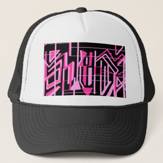 Pink stripes and lines design trucker hat