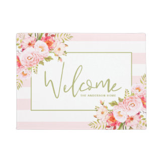 Pink Stripes and Peonies Floral Welcome Doormat