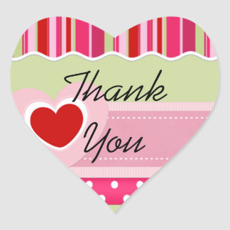 Pink Stripes and Polka Dot Heart Thank You Sticker