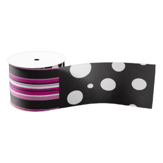 Pink Stripes and Polka Dots Grosgrain Ribbon