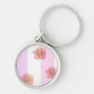 Pink Stripes and Roses Silver-Colored Round Keychain