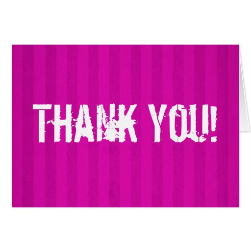 Pink Stripes Background Thank You Card