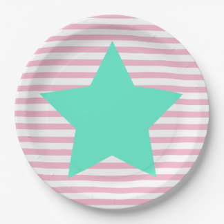 Pink stripes & Big teal star - Paper Plates 9 Inch Paper Plate