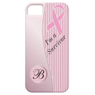 Pink Stripes Breast Cancer Survivor   DIY Monogram Case For The iPhone 5